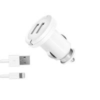 АЗУ 2 USB 2.1А, витой дата-кабель с коннектором lightning, Ultra duo MFI