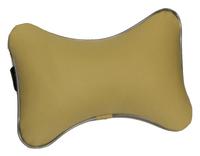 Подушка подголовник из экокожи бежевая