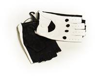 Женские водительские перчатки черно-белые размер 7,5